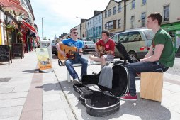 Dan Murphy, 15, Midleton, Aaron O'Grady, 17, Carrigtwohill, and Daniel Griffin, 16, Carrigtwohill, pictured taking part in the busking competition at the Mid-May Festival, a celebration of the arts in Midleton, on Saturday. Pic: Diane Cusack