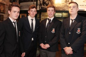 Midleton College Transition Year students, Sean Gies, Joseph Spee, Jack Ryan and Jake Spreadborough, pictured at the screening of the Short Film Competition winners as part of the Mid-May Festival at the Jameson Experience in Midleton. 2014 Pic: Diane Cusack